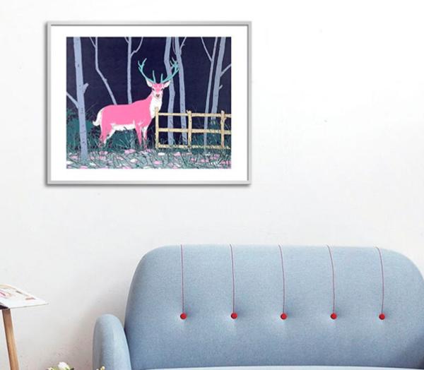 buybuyART 买买艺术 胡杨艺术版画《可遇不可求的事》画框尺寸40x30cm 黑色框