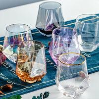 DANYU 丹语 几何透明五彩无铅玻璃杯 320ml