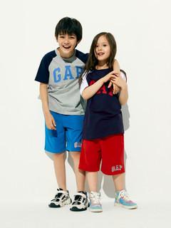 Gap 盖璞 男孩|徽标LOGO撞色纯棉插肩短袖T恤