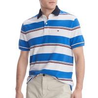 男士新款时尚休闲条纹拼色短袖POLO衫
