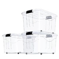 Citylong 禧天龙 透明收纳箱塑料 44*33*25cm 大号 3个装