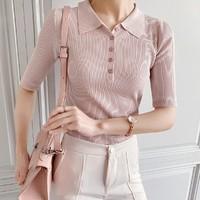 7.Modifier 7TG1273350-4  女款港味针织短袖POLO衫