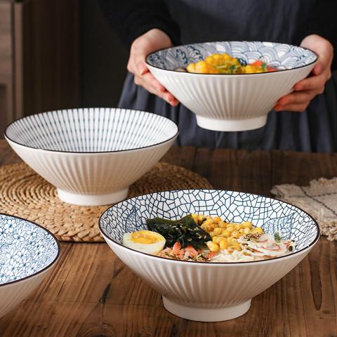 隽美 日式竖纹釉下彩4件套8英寸陶瓷斗笠碗大碗汤碗拉面碗