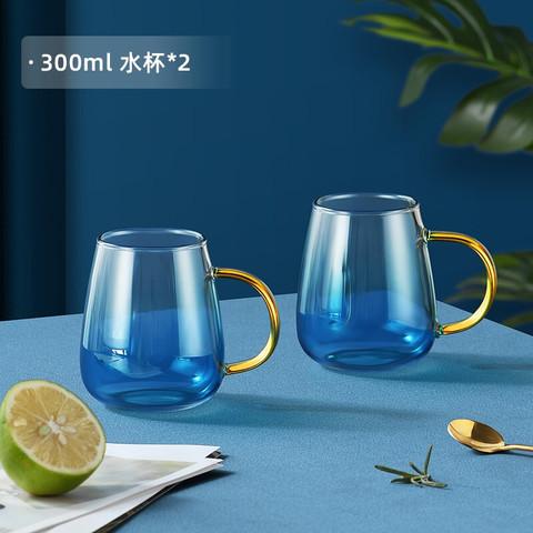 花间道 凉水壶玻璃杯套装家用耐高温泡茶壶 大容量冷水壶果汁杯北欧创意家居玻璃水壶 凉水杯套装水杯子 两只小杯300ml