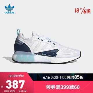 adidas Originals 阿迪达斯官网 adidas 三叶草 ZX 2K BOOST 男女鞋经典运动鞋H05148 白/深蓝 41(255mm)