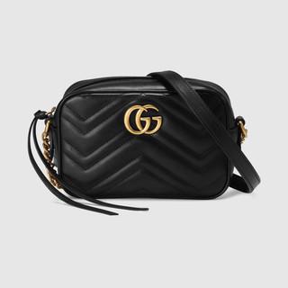 GUCCI 古驰 GG Marmont系列绗缝迷你手袋 女士金色标志经典款皮革单肩斜跨包相机包