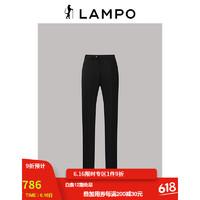 LAMPO 蓝豹 男士21年春夏新品黑色斜纹无褶弹力西服商务修身西服配套西裤下装 黑色 34