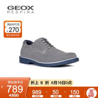 GEOX 健乐士 男鞋早春新款男皮鞋休闲透气商务休闲鞋U028WB B 灰色C1006 40