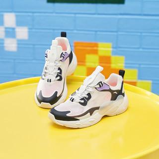 ANTA 安踏 儿童休闲鞋女童中大童夏季网面拼接拼色透气舒适跑步运动鞋