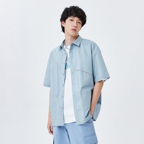 Semir 森马 2021年夏季新款韩版宽松潮牌衬衣男士工装休闲上衣短袖衬衫男