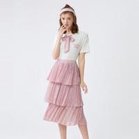 Semir 森马 夏季新款小清新圆领印花短袖T恤碎花雪纺蛋糕裙女式套装裙女