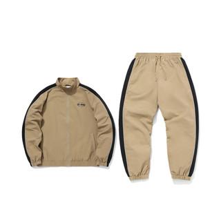 LI-NING 李宁 套装男士新款套装夹克运动长裤长袖收口休闲梭织运动服