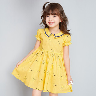 Deesha 笛莎 女童小萌兔印花21年夏新款儿童短袖连衣裙