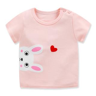 萌趣熊 儿童短袖t恤纯棉 男女童T恤衫打底单上衣夏季童装 G004-粉色爱心兔 120