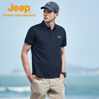 JEEP 吉普 Jeep短袖t恤polo衫男 户外休闲运动速干t恤男士亲肤透气翻领短袖上衣男polo 4580 藏青 XL(180)