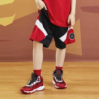 LI-NING 李宁 儿童男大童短裤童装夏季新款韦德篮球系列青少年宽松针织运动裤