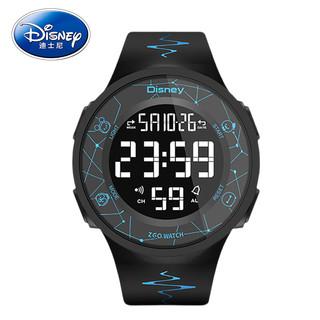 Disney 迪士尼 运动电子表男女学生夜光防水多功能数字式青少年手表中学生男款 855黑壳闪电