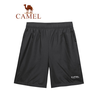 CAMEL 骆驼 男装 夏季户外宽松快干五分裤薄款健身跑步运动短裤男 T0S2U8123 黑色 XL