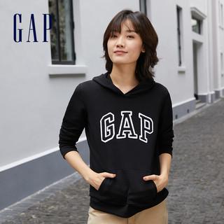 Gap 盖璞 女装时尚LOGO碳素软磨抓绒连帽卫衣春季  女士休闲运动上衣
