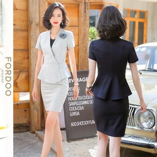 FORDOO 虎都 春季新品条纹显瘦外套包臀半身裙通勤西服外套女
