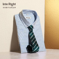 InteRight INTERIGHT 时尚休闲短袖衬衫男蓝格衬衫男士39