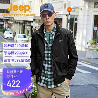JEEP 吉普 Jeep夹克男外套 户外休闲运动男装舒适防风防泼水立领上衣外套男 5074 品牌黑 M(170)