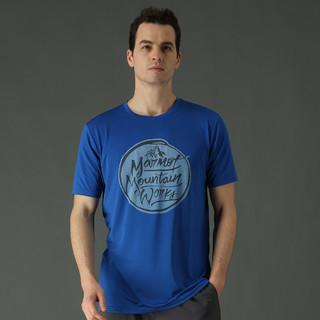 Marmot 土拨鼠 运动户外棉质大LOGO男式休闲短袖T恤