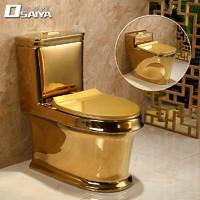 金色马桶坐便器个性创意超漩式家用抽水防臭陶瓷座便器欧式卫生间
