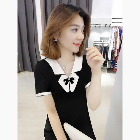bobowaltz 黑色法式娃娃领高端气质短袖连衣裙欧洲站夏季女装2021新款欧货潮