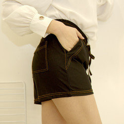 TINSINO 纤丝鸟 女士夏季高腰短裤普通梭织黑色运动简约显瘦都市时尚宽松外穿休闲裤