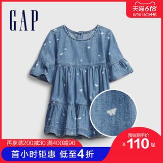 Gap 盖璞 婴儿纯棉牛仔连衣裙套装669588 2021夏季新款童装娃娃裙公主裙
