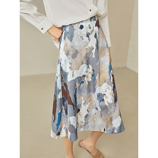 DUIBAI 对白 2021新款春季中长款印花雪纺裙半身裙 流沙色[现货速发]可加入购物车凑单 160/M