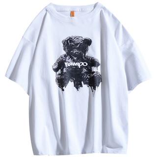Rampo 乱步 2021新款小熊印花夏季男士短袖白色T恤纯棉体恤半袖潮流牌上衣服