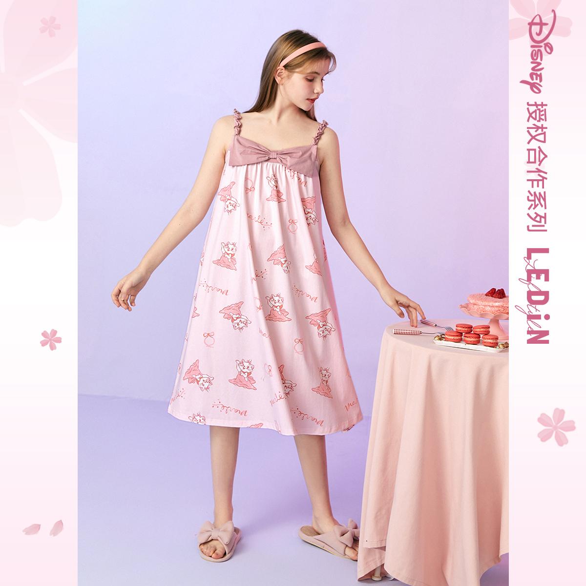 LEDIN 乐町 CLFAB2208 玛丽猫联名 女士吊带睡衣裙