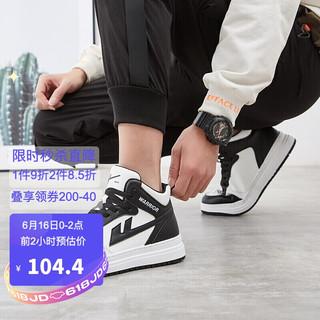 WARRIOR 回力 板鞋高帮男士运动鞋 学生户外耐磨防滑篮球鞋时尚百搭潮休闲鞋 WXY-L279N 黑色 42