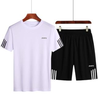 WOLFLAG 夏季T恤速干运动套装8808 白色 M