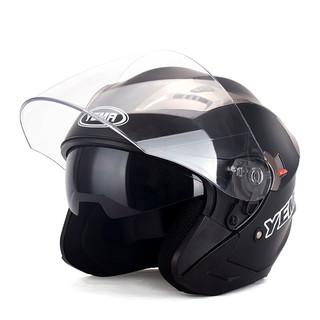 YEMA 野马 3C认证款627摩托车头盔男夏季双镜片电动车安全帽女半盔 四季通用 均码 亚黑