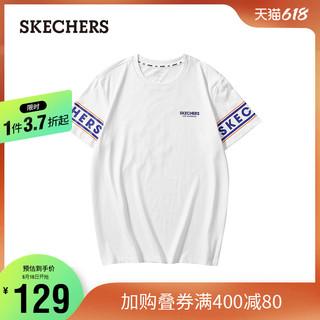 SKECHERS 斯凯奇 Skechers斯凯奇新款纯色男女款上衣舒适透气圆领短袖字母印花T恤