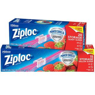 Ziploc 密保诺 拉链式食品密封袋 大中号组合装 (大*15 中*20)可重复使用 保鲜袋 收纳袋 储奶袋冰箱厨房
