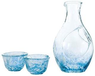 東洋佐々木ガラス 冷酒玻璃杯套装 蓝色 清酒瓶 300ml 玻璃杯 55ml 3件装 G604-M70 日本制造