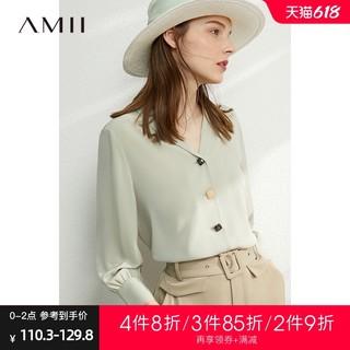 AMII Amii洋气时尚V领雪纺衫衬衣2021夏新款时尚小衫薄款女士衬衫上衣