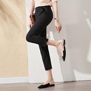 索菲丝尔 夏季薄款显瘦小脚裤西装裤舒适休闲裤子女脚口开叉
