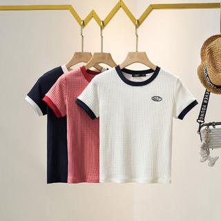 La Chapelle 拉夏贝尔 旗下新款圆领拼接修身时尚百搭打底衫T恤