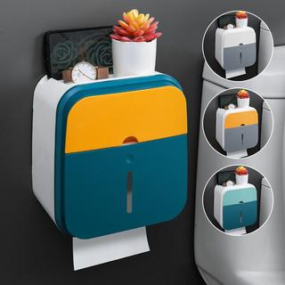 小钰头 卫生间创意免打孔纸巾盒厕所卫生纸置物架抽纸盒防水纸巾架厕纸盒 901撞色蓝黄