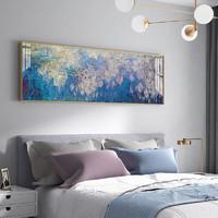 莫奈装饰画卧室床头长横版睡莲挂画房间艺术油画 40x120cm 轻奢金框