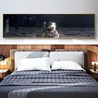 现代床头装饰画创意太空客厅沙发背景墙挂画 宇宙奥秘D 120x30cm 油画布 轻奢金