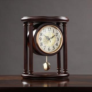 纳什 nashi)中式实木座钟复古坐式时钟家用客厅仿古美式摆钟书房老式钟表台式摆件 实木红
