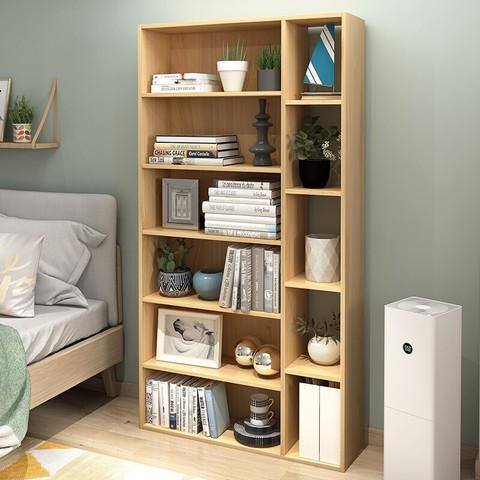 木以成居 LY-4189 简约实木储物小柜子 加宽原木色六层五格