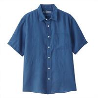 MUJI 无印良品 M9SC423 男士亚麻水洗休闲短袖衬衫