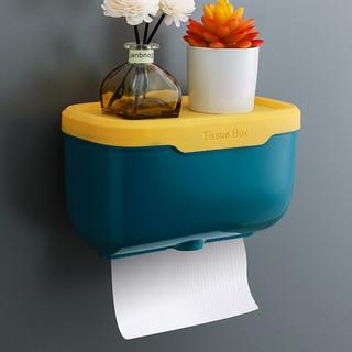 小钰头 免打孔创意防水纸巾架厕纸盒卫生间纸巾盒厕所卫生纸置物架抽纸盒 217D大号蓝黄
